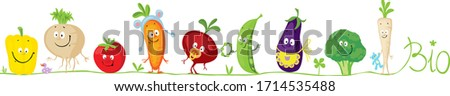 Cute Bio Vegetable Cartoon for Babies Standing in Raw - Vector Illustration  #1714535488