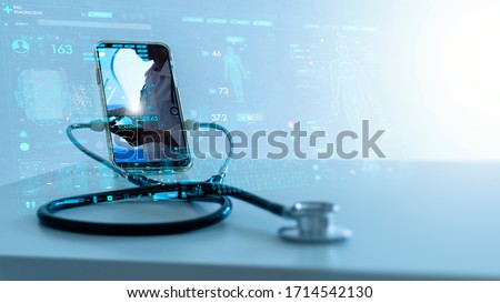 Tele medicine concept,Medical Doctor online communicating the patient on VR medical interface with Internet consultation technology Royalty-Free Stock Photo #1714542130