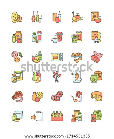 Groceries category RGB color icons set. Various supermarket food sections. Drink products for ecommerce and retail. Store supplies. Miscellaneous goods for shop. Isolated vector illustrations Royalty-Free Stock Photo #1714551355