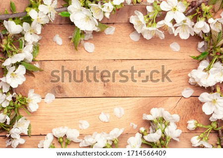 Spring Cherry Blossom  - Spring flowers frame on wooden background Royalty-Free Stock Photo #1714566409