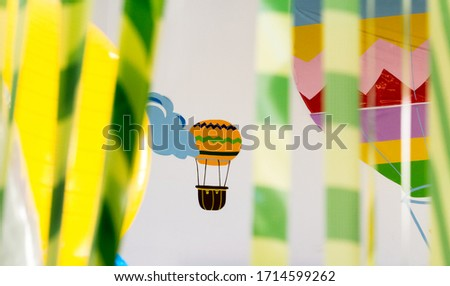 hot air balloons flying in the sky in the clouds #1714599262