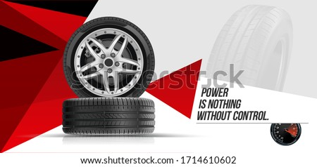 Car tires pile background. Tire stack. Group of tyres isolated. Change a car tires from summer for winter. Realistic vector. Information. Store. Action.Landscape poster, digital banner, flyer. #1714610602