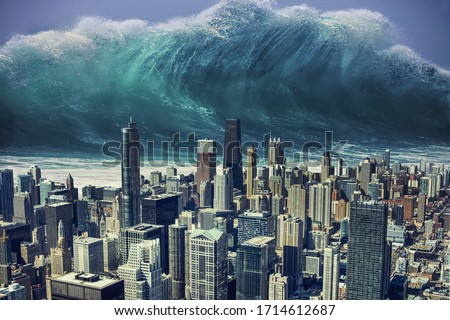 Photo manipulation about a tsunami going to hit a big city