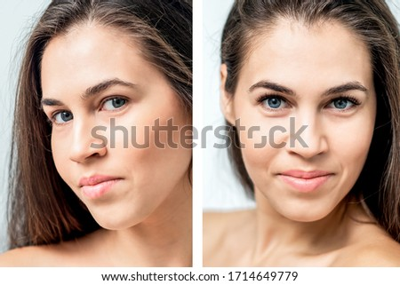 Portrait of woman with comparison her eyes before and after eyelash extension. #1714649779