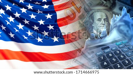 Growth of quotations of American companies. Growth of the dollar. Growth trend in the us market. New York stock exchange. American flag, dollars, growing chart and calculator.