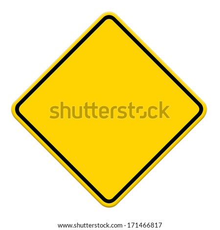 Blank yellow road sign on white background #171466817