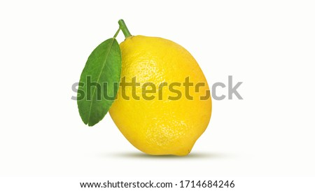 Lemon isolated on white background with clipping path,Juicy lemon with leaves,Ripe lemons #1714684246