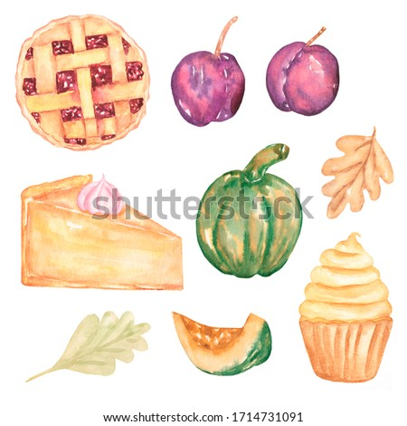 Watercolor food illustration. Plum, pumpkin, cupcake, cheesecake, autumn leaves, pie. Autumn set.