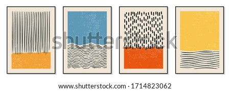 Set of minimal 20s geometric design posters, vector template with primitive shapes elements, modern hipster style Royalty-Free Stock Photo #1714823062
