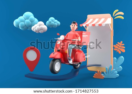 Delivery man with red scooter out of a mobile phone on a blue background.-3d rendering.