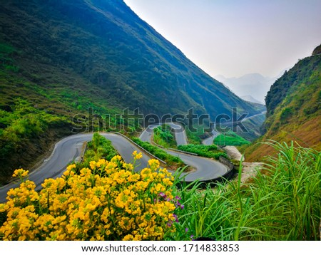Beautiful landscape at Ha Giang loop, the final frontier of North Vietnam. This picture show the incredible road to Malipeng, one of the famous landmarks in Ha Giang.