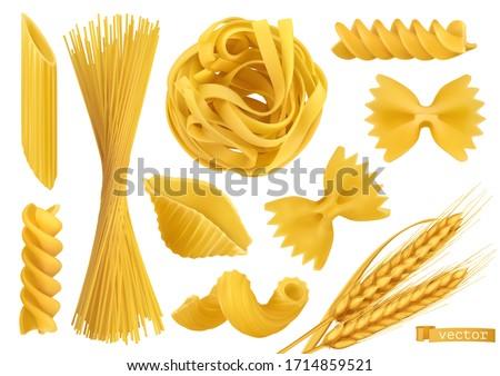 Pasta 3d realistic vector objects set. Penne, fusilli, farfalle, tagliatelle, fettuccine, spaghetti, cavatappi, conchiglie shells and wheat. Food illustration #1714859521
