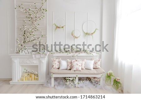 Backdrop for photo studio with spring decor for kids and family photo sessions.Selective focus. Royalty-Free Stock Photo #1714863214