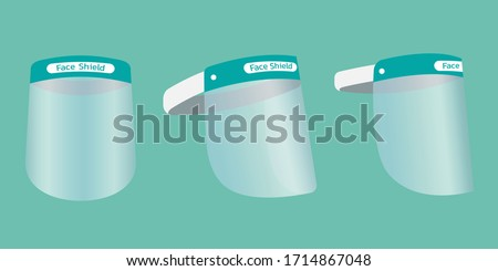 set of portable protective full antivirus mask waterproof medical face shield, prevent from droplets, aerosols, splashes of liquid, sand, dust blows, and virus protection, flat vector illustration #1714867048