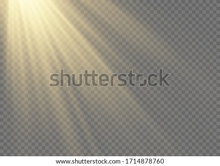 Sunlight a translucent special design of the light effect.Isolated sunlight transparent background. Vector blur in the light of radiance.
