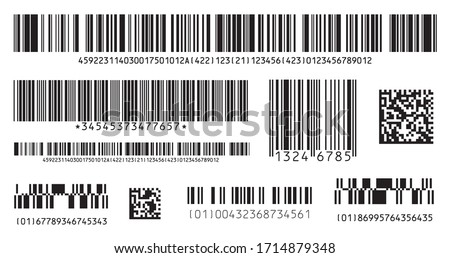 Bar code icon. Set of Modern Flat Barcode.  Can be use as a template for Products. Mockup. Vector.