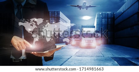 Double exposure of man with world map for logistic network distribution on background and Logistics Industrial Container Cargo freight ship for shipping and Transportation, import-export  Royalty-Free Stock Photo #1714981663