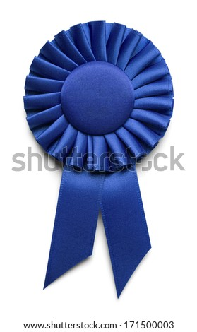 Blue Fabric Award Ribbon with Copy Space Isolated on White Background. Royalty-Free Stock Photo #171500003