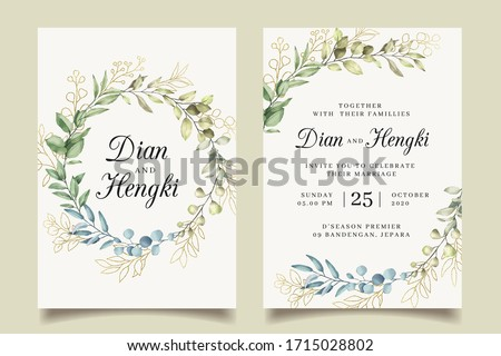 Elegant wreath leaves gold wedding invitation Royalty-Free Stock Photo #1715028802