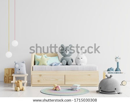 Mock up wall in the children's room in white wall background .3d rendering #1715030308
