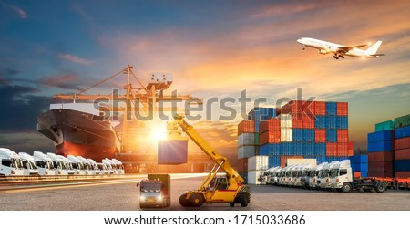 Logistics and transportation of Container Cargo ship and Cargo plane with working crane bridge in shipyard at sunrise, logistic import export and transport industry background #1715033686