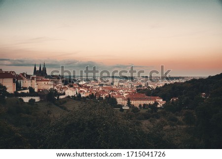Prague skyline rooftop view with historical buildings in Czech Republic. #1715041726