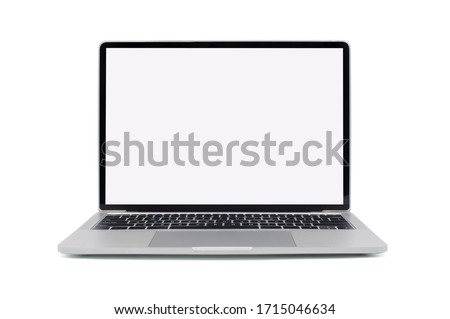Front view of Open laptop computer. Modern thin edge slim design.  Blank white screen display for mockup and gray metal aluminum material body isolated on white background with clipping path. Royalty-Free Stock Photo #1715046634
