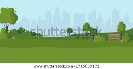 Cartoon scenery or green park - nature outdoor green place with trees, stones, bushes and lawn, city view on background, cute square in town - vector illustration for banner Royalty-Free Stock Photo #1715059192