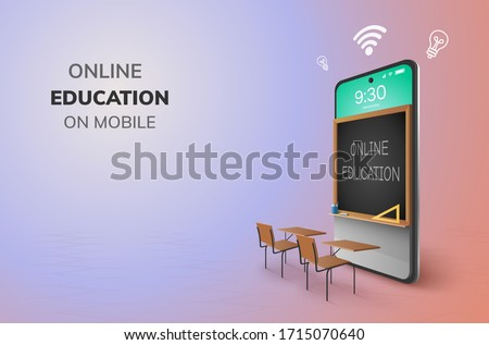 Digital Classroom Online Education kindergarten backto school concept. learning on phone, mobile website background. decor by blackboard kid, children Student desk table chair. 3D vector Illustration. #1715070640
