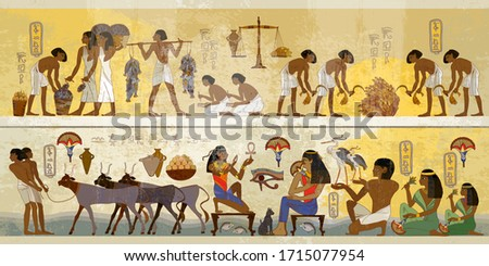 Ancient Egypt frescoes. Agriculture, fishery, farm. Old tradition, religion and culture. Hieroglyphic carvings on exterior walls of an old temple. Life of egyptians. History art #1715077954