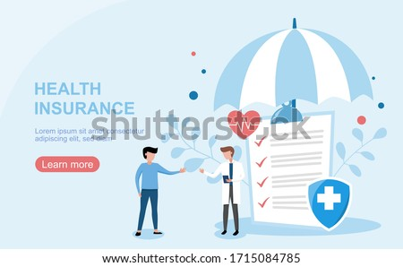 Health insurance concept.Healthcare, finance and medical service. Vector illustration about health insurance. #1715084785