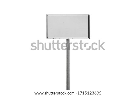 Blank white banner frame on a metal pole isolated on white background