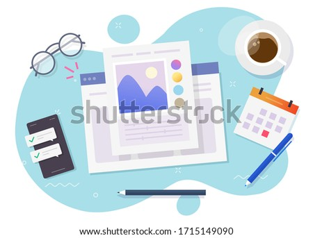 Image software photo editor online vector above designer workplace table desk or artist desktop picture creating and digital drawing program top view flat cartoon, concept of photographer studio