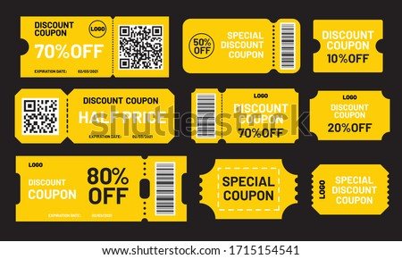 Yellow discount coupon set. Half price, 10, 20, 50, 70, 80% off offers template. Premium special price coupons and best promo retail pricing vouchers.  #1715154541