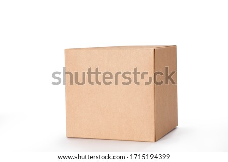 Brown cardboard box isolated on white background with clipping path. Suitable for food, cosmetic or medical packaging. #1715194399