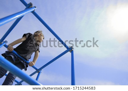 Japanese girl on the jungle gym (5 years old) #1715244583