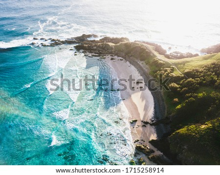 Byron Bay, located in Northern NSW Australia, is known for is beautiful beaches and sunny weather. Royalty-Free Stock Photo #1715258914