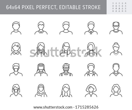 People avatar line icons. Vector illustration included icon as man, female, muslim, senior, adult and young human outline pictogram for user profile. 64x64 Pixel Perfect Editable Stroke Royalty-Free Stock Photo #1715285626