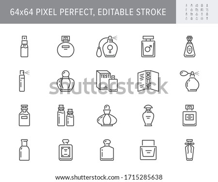 Perfume bottles line icons. Vector illustration included icon as glass sprayer, luxury parfum sampler, essential oil, cologne outline pictogram for cosmetic store. 64x64 Pixel Perfect Editable Stroke #1715285638