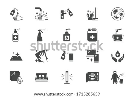 Disinfection flat icons. Vector illustration included icon as spray bottle, floor cleaning mop, wash hands gel, autoclave uv lamp black silhouette pictogram for housekeeping #1715285659