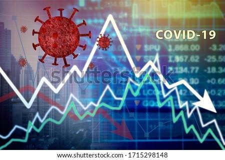 Downturn financial chart with covid-19 or coronavirus representing the stock market crash caused by the Coronavirus #1715298148