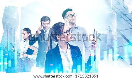 Four diverse business people using smartphones in abstract city with double exposure of blurry digital graph. Concept of stock market and teamwork. Toned image #1715321851
