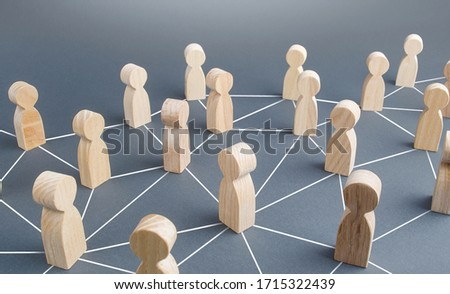People connected people by lines. Society concept. Social science relationships. Cooperation and collaboration, news gossip spread. Teamwork. Marketing, dissemination of trends and information #1715322439