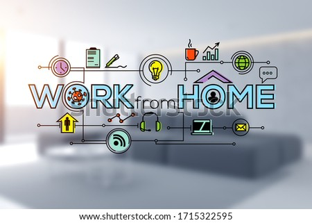 Creative and colorful work from home sketch drawn in blurry living room with sofa and coffee table. Concept of working during coronavirus pandemic. 3d rendering toned image double exposure