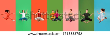 Young emotional people jumping high, look happy and calm, balanced on multicolored background. Celebrating, delighted women. Human emotions, facial expression concept. Trendy colors. Creative collage. #1715333752