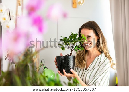 young woman taking care of the house plants, gardening. Home activity for beautiful young woman holding a bonsai in her hands near a bright window #1715357587