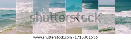 Ocean photo collage. Atlantic ocean, set of the sea pictures of splashy waves, blue sky, and the beach. Soft filter, sea background. Ericeira, Portugal
