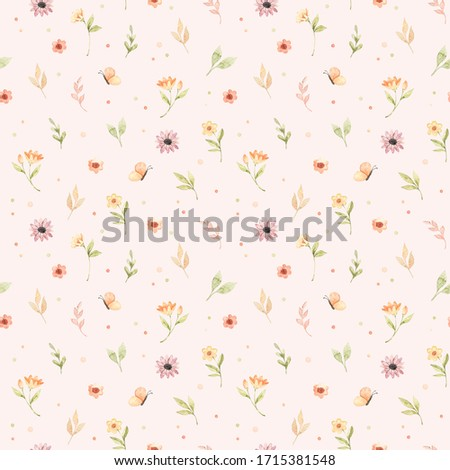 Ð¡hildren's watercolor seamless pattern. Floral and colorful polka dot background. Design of flowers, leaves, circles and butterfly. Perfect for textile, fabric, wrapping paper, linens, wallpaper etc #1715381548