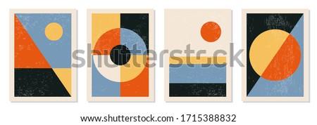 Set of minimal 20s geometric design posters, vector template with primitive shapes elements, modern hipster style Royalty-Free Stock Photo #1715388832