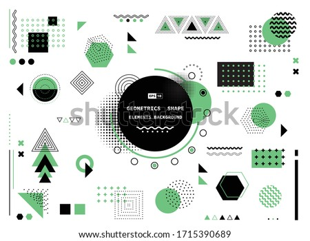 Abstract green and black geometric modern shape elements cover background. Use for poster, artwork, template design, ad, print. illustration vector eps10 #1715390689